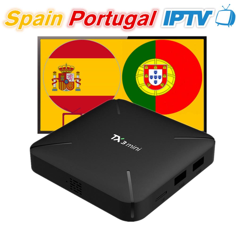 TX3mini Android 7 1 Smart TV Box with 12 Months Spain Portugal IPTV Subscription 200 Spanish