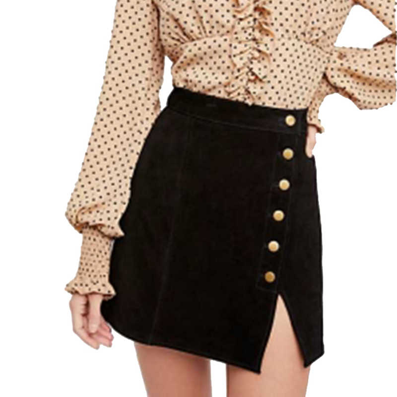 e914a102e77f2b Brown high waisted side slit mini faux suede skirts for women ladies autumn  vintage black slim