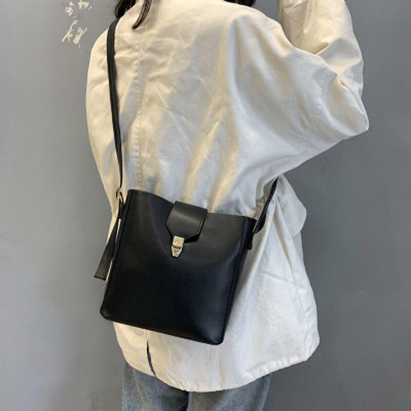 2019 nouvelles femmes mode sac de seau en cuir sac à bandoulière dames sac casual rétro grande capacité femmes sac simple style sauvage