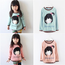 Baby Girls Korean Style Long Sleeve Cute Cartoon Cropped Shirt Tops Clothes Girls Blouse T-Shirt Sz2-7Y