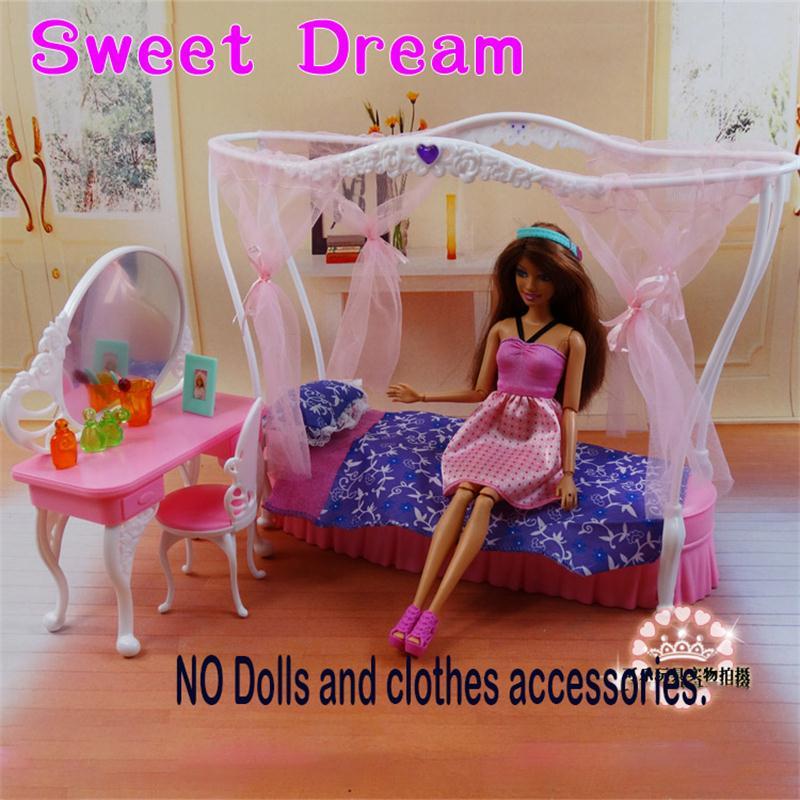 Pour Barbie Poupée Meubles Accessoires En Plastique Jouet DIY Couronne Princesse Lit Coiffeuse Miroir Chaise Prétendre Vacances Cadeau Fille
