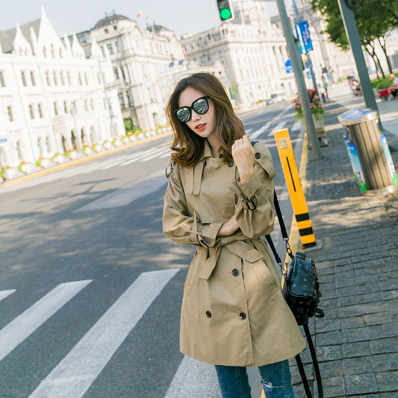 Vintage Chic Khaki Trench Coat Female Newon Simplicity Fashion Medium - Long Casual Outerwear Double-Breasted Surcoat