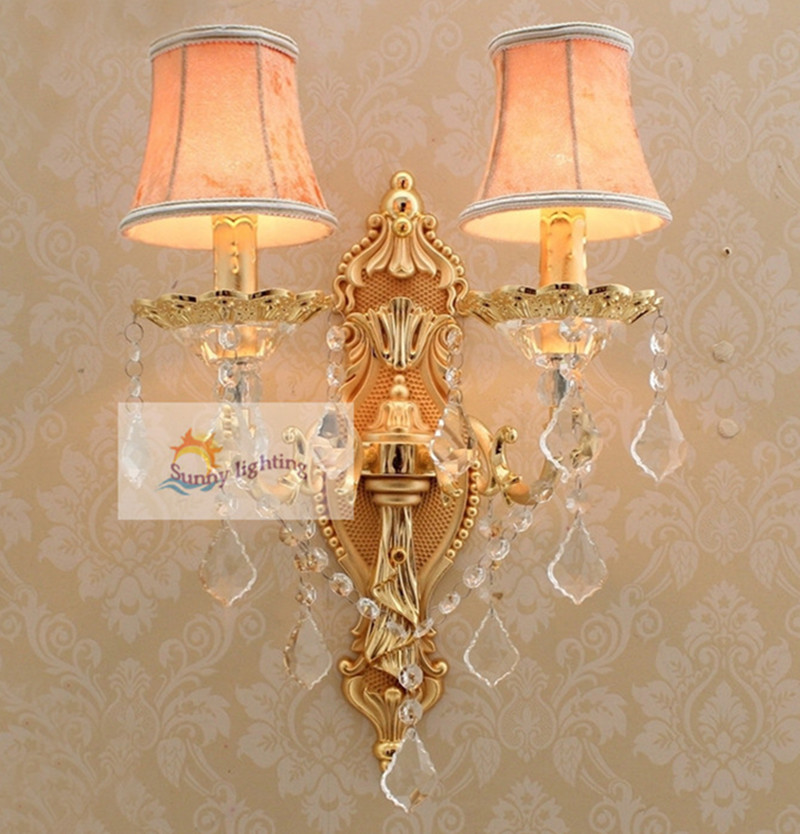 Art deco 2-arm gold wall lamp for bedside bathroom led indoor crystal lighting 110-240V modern crystal lampshade wall Sconce luxurious crystal wall lamp metal plating modern wall light hotel ideas wall lights indoor modern wall lamps art deco lighting