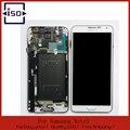 100% Хорошее Качество Для Samsung Galaxy Note 3 N900 N900A N9000 N9005 ЖК-Дисплей + сенсорный экран ассамблея С Рамкой Серый И белый