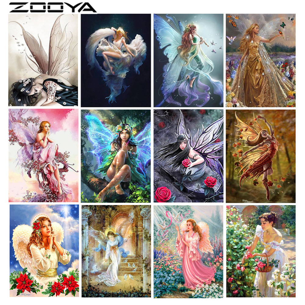 ZOOYA Diamond Embroidery Portrait 5D DIY Diamond Painting Full Dill Round Diamond Mosaic Beauty Angel Religion Butterfly RF1221