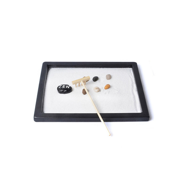 Natural's Mark,Mini Meditation Zen garden Density Plate Sand Table Zen Decoration