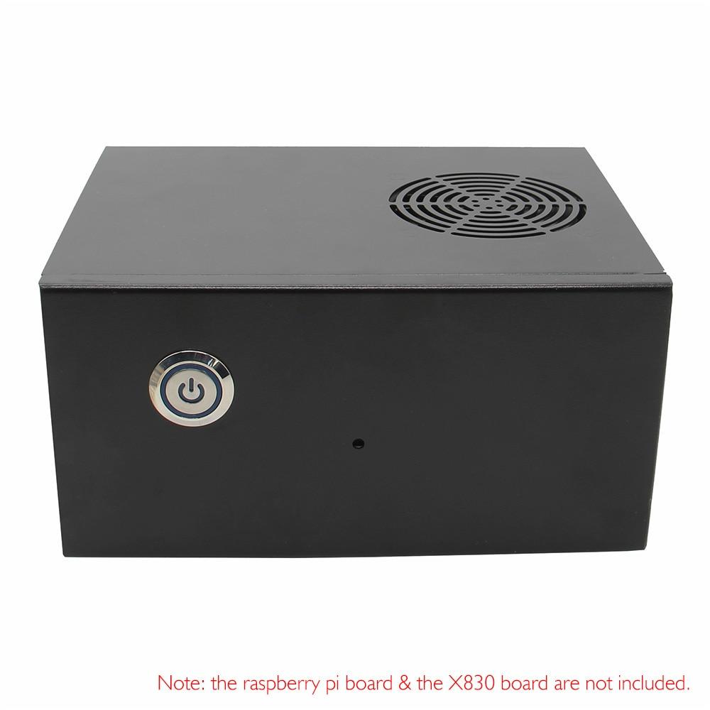 Raspberry Pi 3 Model B Plus / 3B & X830 HDD SATA Storage Board Metal Case/ Enclosure +Cooling Fan + Power Control Switch Kit