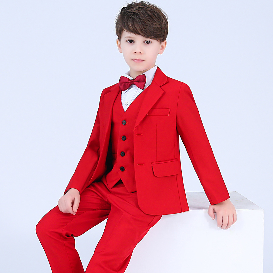 4pcs Children Formal Wedding Suits Sets Boys Prom Tuxedos Party Clothing Sets Kids Blazer Vest Pants Bowtie Outfits настенная плитка cir marble style fiorito beige 10x10