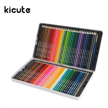 Kicute 72 Professional Colored Pencils Colorful Pen Soft Core Lead Set With Iron Case And 1 Brush Art Painting Drawing Supply