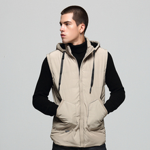 British Autumn Winter Fashion Men Vest Hooded Coat Stand Collar Casual Outwear Thick Velvet Parka Sleeveless Warm Jackets