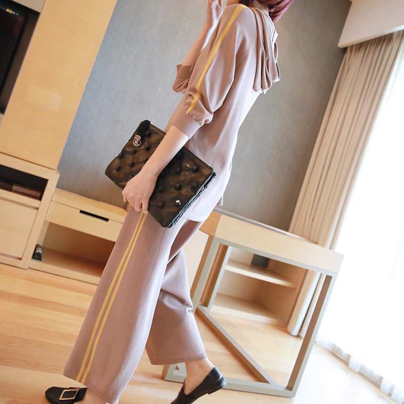 Casual suit female 2019 spring and summer new sweater women's fashion hooded sweater wide leg pants two sets of tide 5