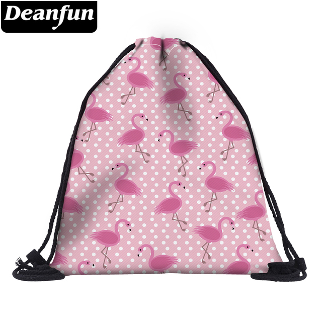 Deanfun 3D Printing Drawstring Bags Pink Flamingo Cute for Women School  60063
