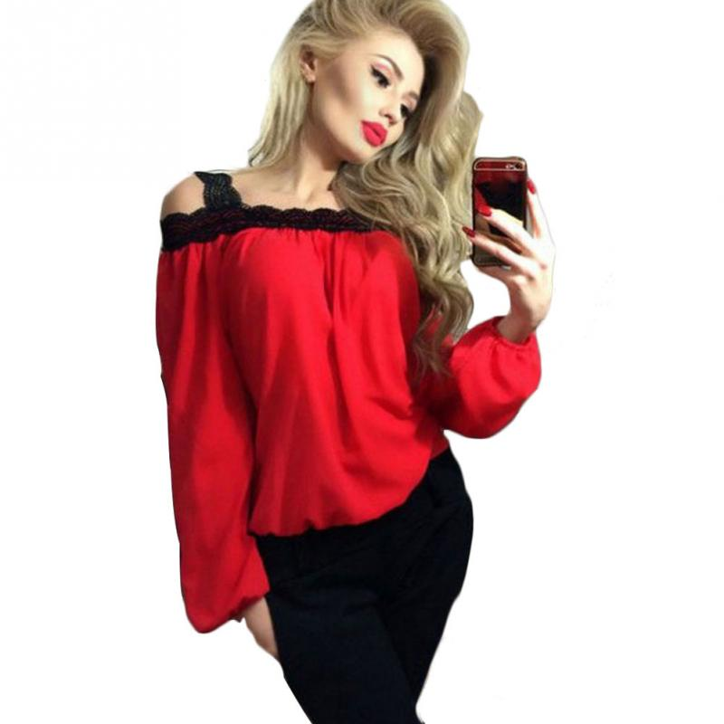 Women Fashion Casual Sexy Round Collar Off Shoulder Long Sleeve Loose Lace Chiffon Blouse Tops Daily Party Shopping Wear ...
