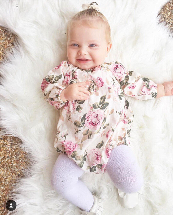 0-24M Lovely Floral   Romper   Baby Clothes Newborn Baby Girls Cotton Long Sleeve   Romper   Playsuit Outfits Clothes