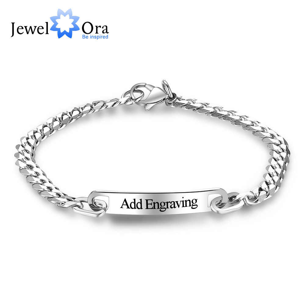 8c0a706563b84 Personalized ID Braceles Custom Engrave Name Silver Color Stainless ...