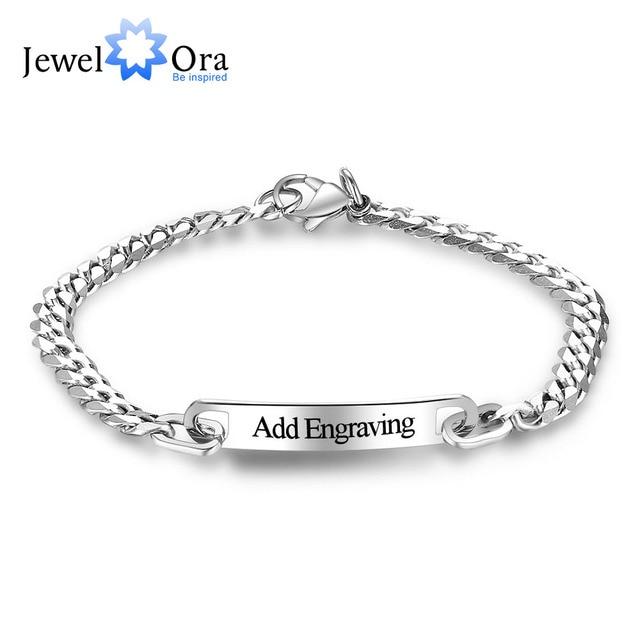 c17f719ba4ef Pulseras y brazaletes de acero inoxidable personalizados con nombre grabado  personalizado para mujer y hombre (