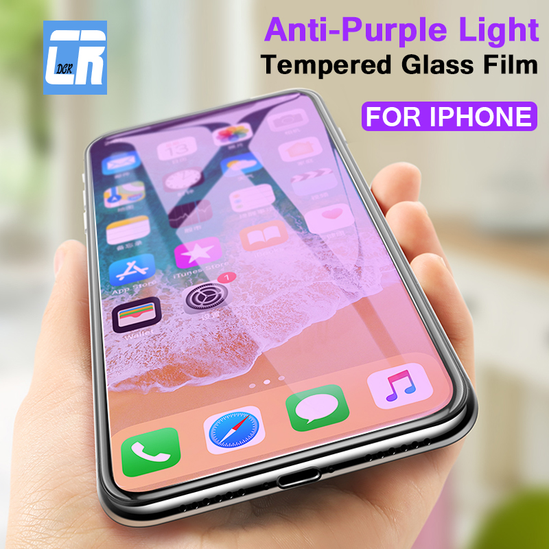 9H Anti Purple Light Tempered Glass On The For Apple IPhone X XR XS Max Screen Protector For IPhone 6S 7 8 Plus Protective Film