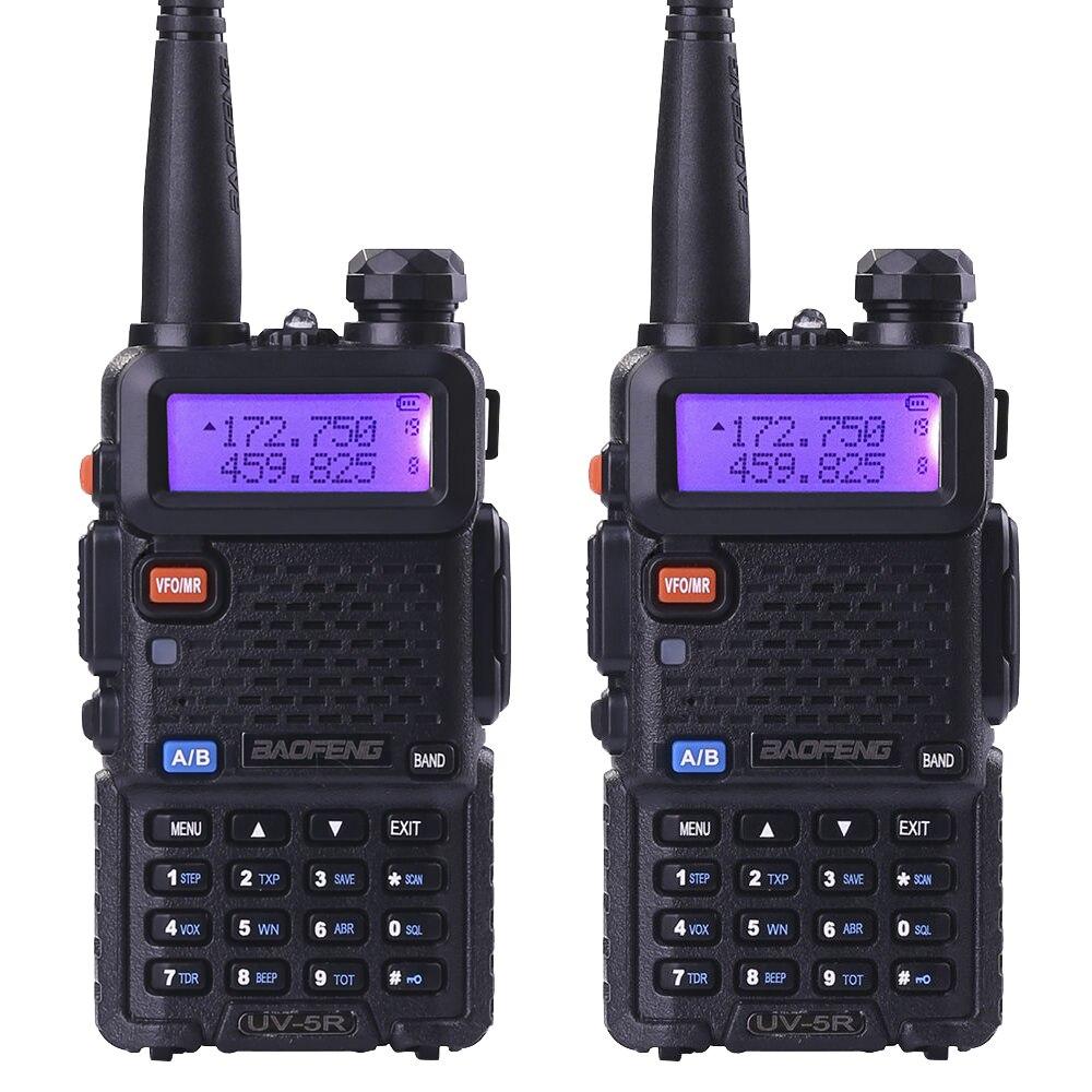 imágenes para 2 unids baofeng uv-5r walkie taklie transceptor 5 w vhf uhf dual banda 136-174/400-520 MHz FM Jamón CB radio de dos vías Libre auricular