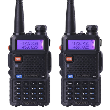 2pcs BaoFeng UV-5R walkie taklie transceiver 5W VHF UHF Dual Band 136-174/400-520 MHz Ham CB FM two way radio Free earpiece