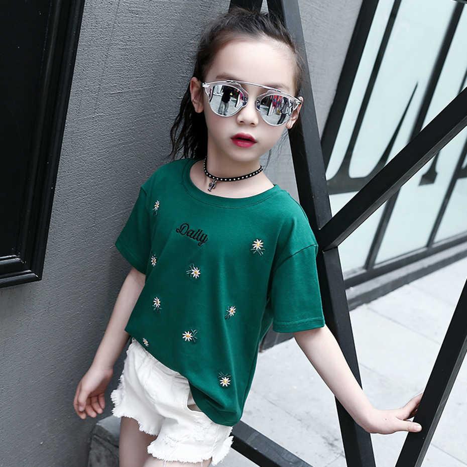 Футболка для девочек летний топ для детей, коллекция 2019 года, детская одежда футболка с вышивкой для девочек возрастом 6, 8, 12, 14 лет, детский Весенний костюм для подростков