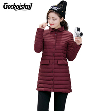 Geckoistail Women Jacket Parka Coat Autumn and Winter New Fashion Slim Dowm Cotton Female Solid Jacket Clothing Outerwear S-XXL