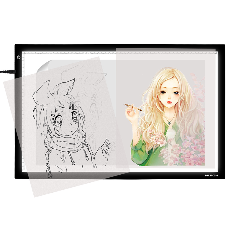 HUION A2 26.77 Inches LED Light Pad Adjustable Lightness Tracing Board Drawing Light Box for Artcraft Animation Sketching