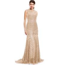 Tanpell lantejoulas longo vestido de noite ouro colher sem mangas até o chão vestido de comprimento barato sereia zíper até formal festa vestido de noite