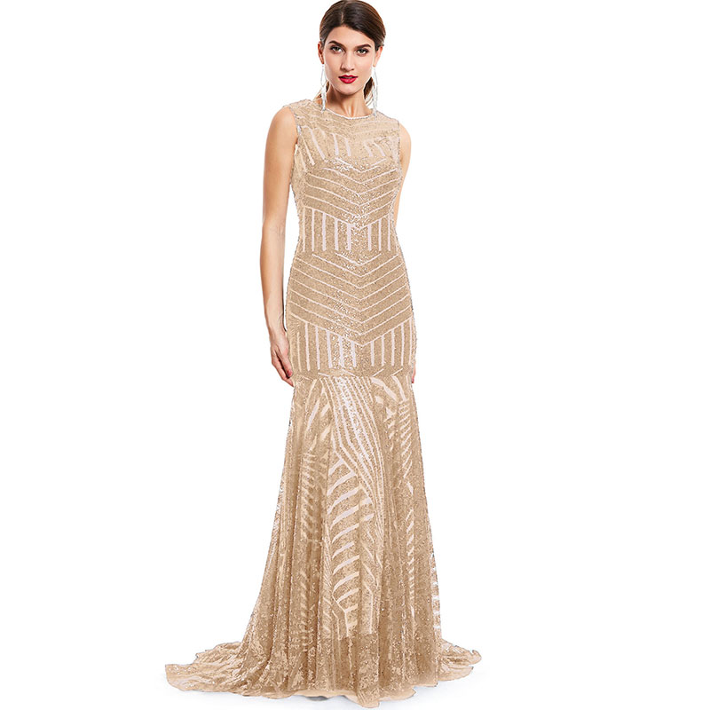 Tanpell Sequins Long Evening Dress Golden Scoop Sleeveless Floor Length Dress Cheap Mermaid Zipper Up Formal Party Evening Gown