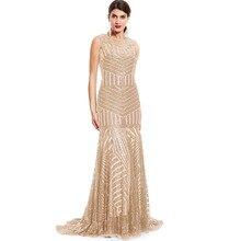 Tanpell פאייטים ארוך שמלת ערב זהב סקופ ללא שרוולים מקיר לקיר אורך שמלת זול בת ים רוכסן עד פורמליות המפלגה שמלת הערב