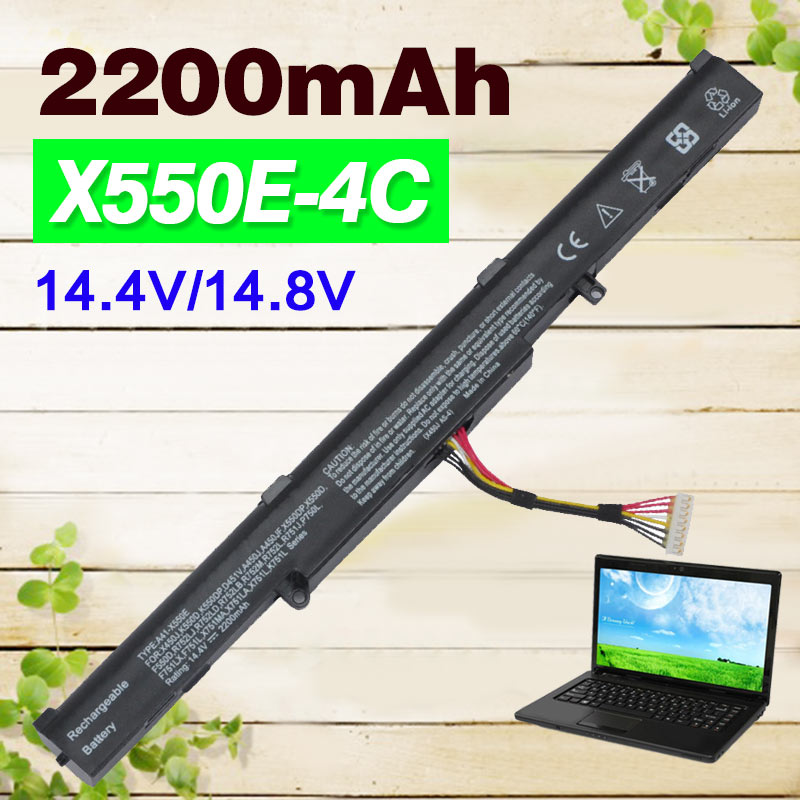 14 8V 2200mAh 4Cells Laptop Battery A41 X550E for ASUS X550E X450 X450E X450J X450JF X751L