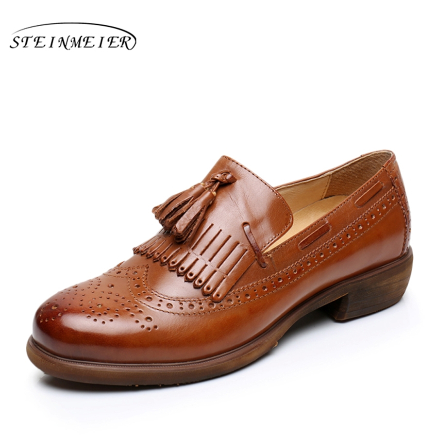100% Genuine sheepskin leather brogue yinzo ladies flats shoes vintage handmade oxford shoes for women 2018 winter black brown genuine leather woman size 9 designer yinzo vintage flat shoes round toe handmade black grey oxford shoes for women 2017