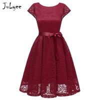 Julyee Vintage lace dress summer cap sleeve backless midi slim round neck belted casual elegant wedding black blue women party