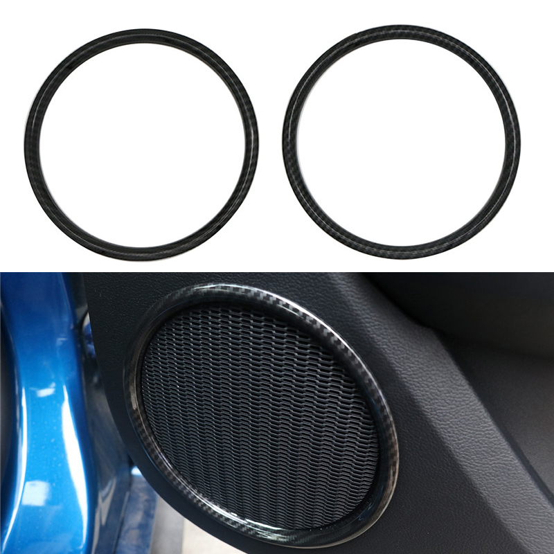 For Ford Mustang Door Stereo Speaker Ring Trim Cover Vent Outlet Frame ABS Carbon Black 2015 2016 2017 2018 Car Interior Parts /