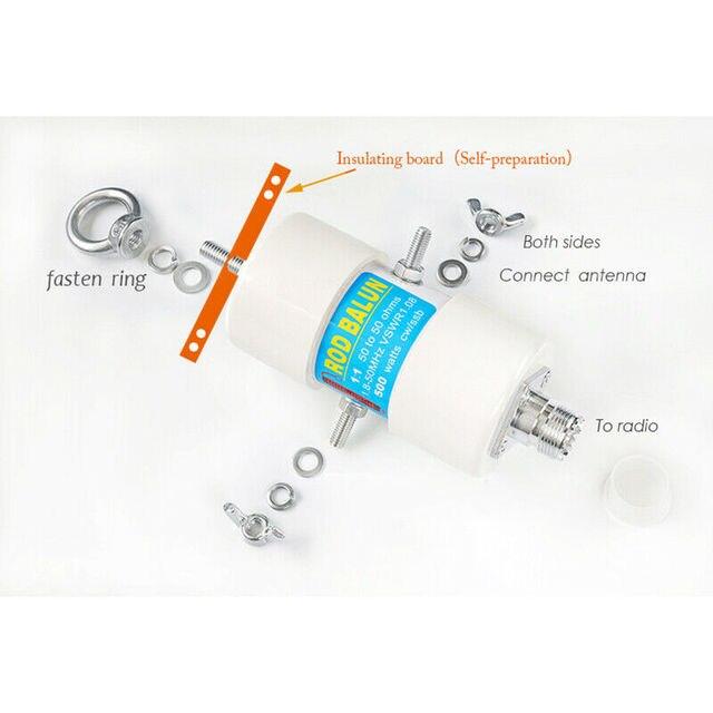 500 W 11 방수 HF 발룬 160 m-6 m 밴드 (1.8-50 MHz) 방수 DIY 반전 V 안테나