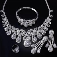 Luxury 4pcs Sets Bridal Party Wedding Clear White Cubic Zirconia White Color Necklace+Earring+Bangle+Ring Big Jewelry Set