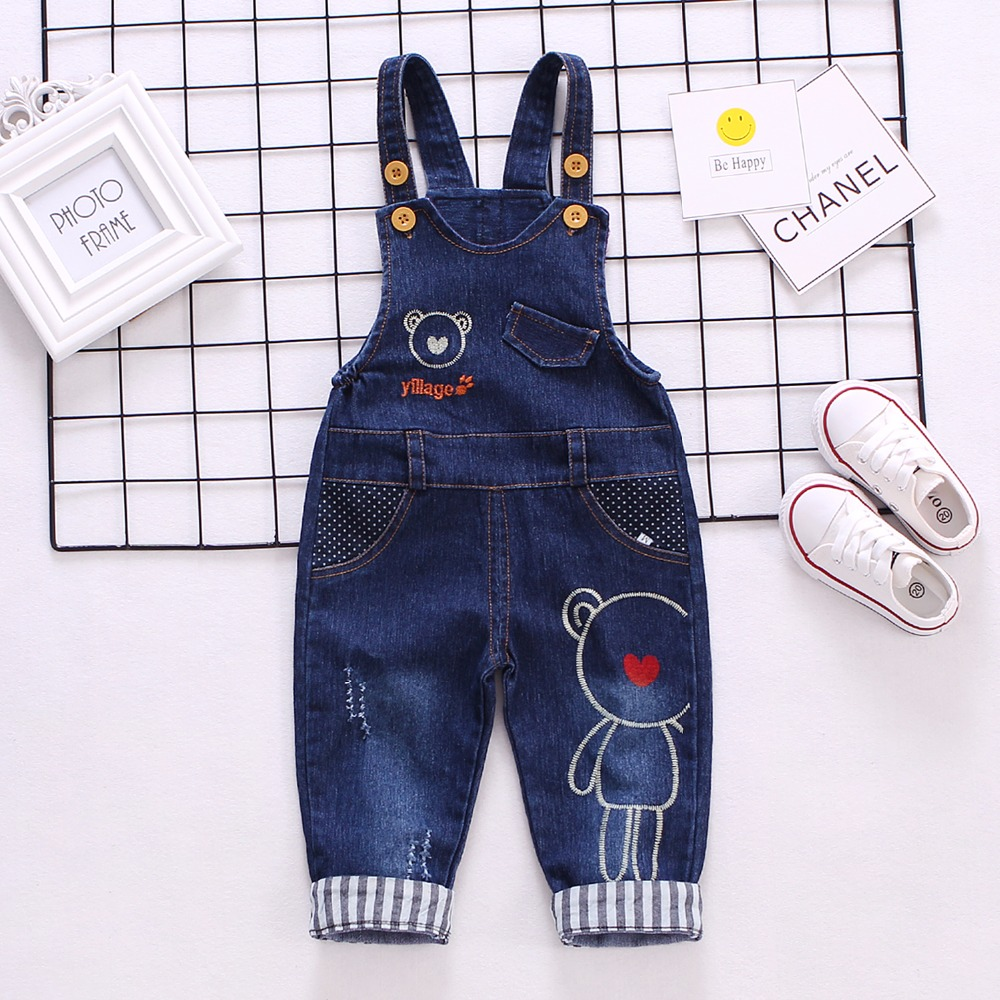 1-3T  Infant Baby Girls/Boys Denim Overalls Jeans Kids Rompers Monkey Animal Baby Clothes Toddler Jumpsuit Bebe Clothing