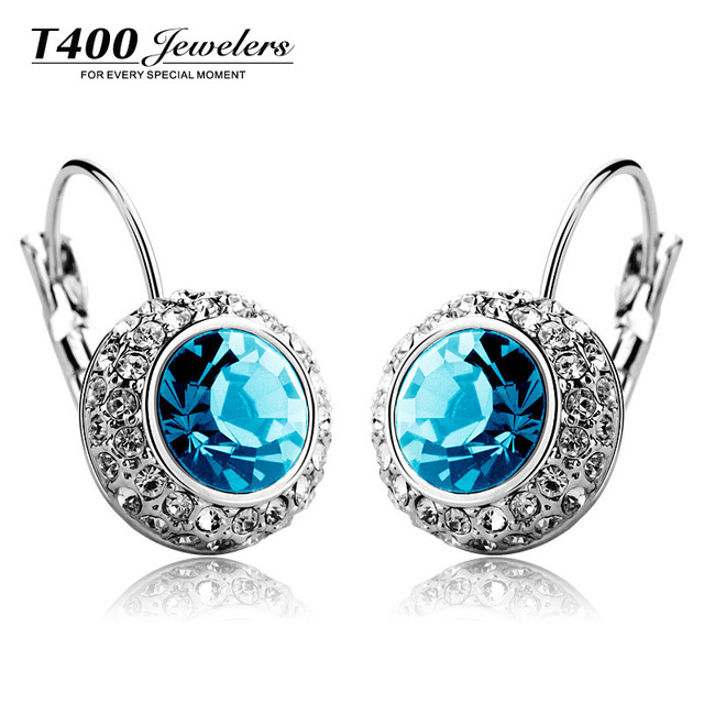 T400 multi hoop earrings made with Swarovski Elements crystal earrings for women brincos accessories #2302 free shipping