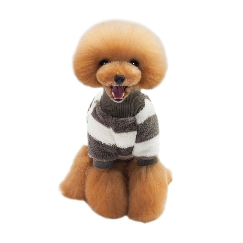 Coral Velvet Striped Design Pet Dog Coat Clothing Cashmere Pet Dog Autumn Winter Warm Jacket Clothes Two Feet Sweaters For Pupny