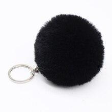 Big cute Fluffy faux bunny rabbit Fur PomPom Keychain handBag Plush Car key chain Pendant pom pom Pendant trinket for women bag