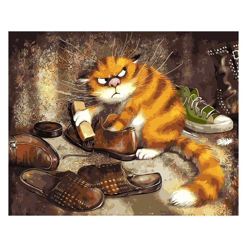 3D DIY Cat Abstract Digital Oil Painting By Numbers Europe Style Animal Art Canvas Wall Picture Craft Home Decoration Gift
