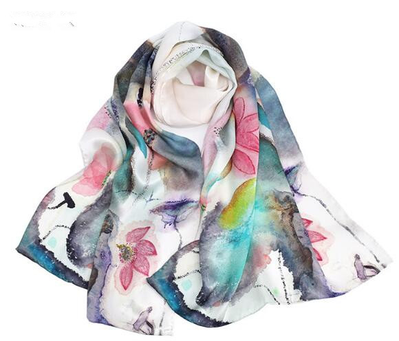 Sping summer floral silk scarf for women high quality