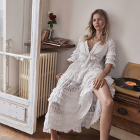 2018 Summer Vacation Bohemian Style White Long Dress Women's Sexy V Neck Cascading Ruffle Embroidery High End Cotton Dress