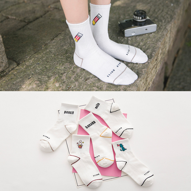 Fashion Women's Sock RocketMilkBananaDinosaurPencil Pattern Cartoon Harajuku Baseball Socks Meias Novelty Cute Cotton Sock