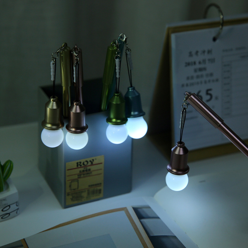 1 Pcs Cartoon Cute Creative Light Bulb Modeling Neutral Pen School Student Supplies Dust Plug Gel Pen Multifunctional Stationery