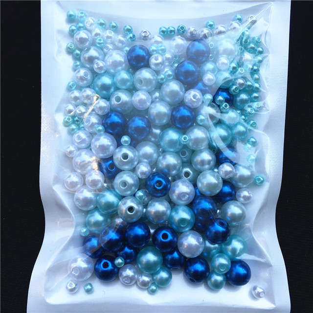 150-200Pcs/Pack Mix Size 3/4/5/6/8mm Beads With Hole Colorful Pearls Round Acrylic Imitation Pearl DIY For Jewelry Making Nail