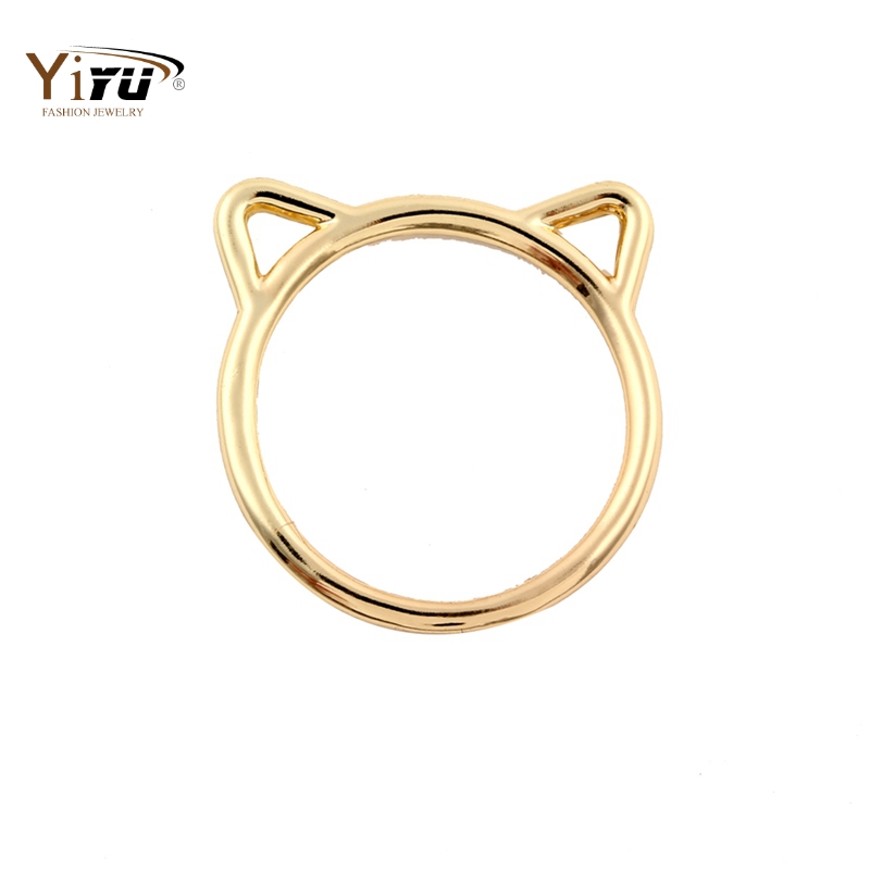 Rings: 2016 New Fashion Accessories Jewelry Rings Lovely kitty Cat Ear Rings for Women Wedding and Party Gifts Size 6.5 R090