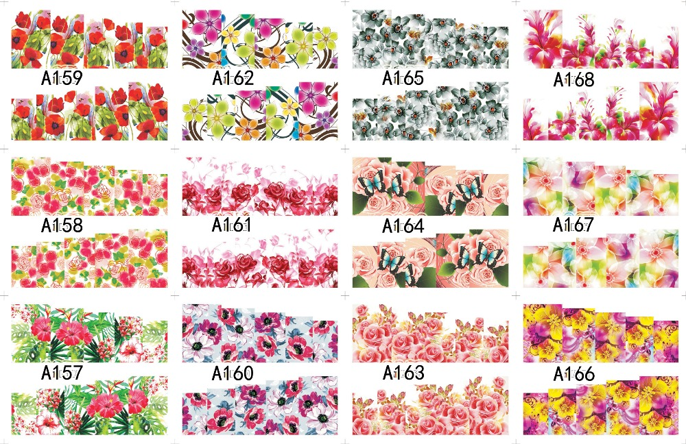12 PACK/ LOT WATER DECAL NAIL ART NAIL STICKER SLIDER TATTOO FULL COVER LAVENDER CHERRY BLOSSOM ACTINIA  A157-168