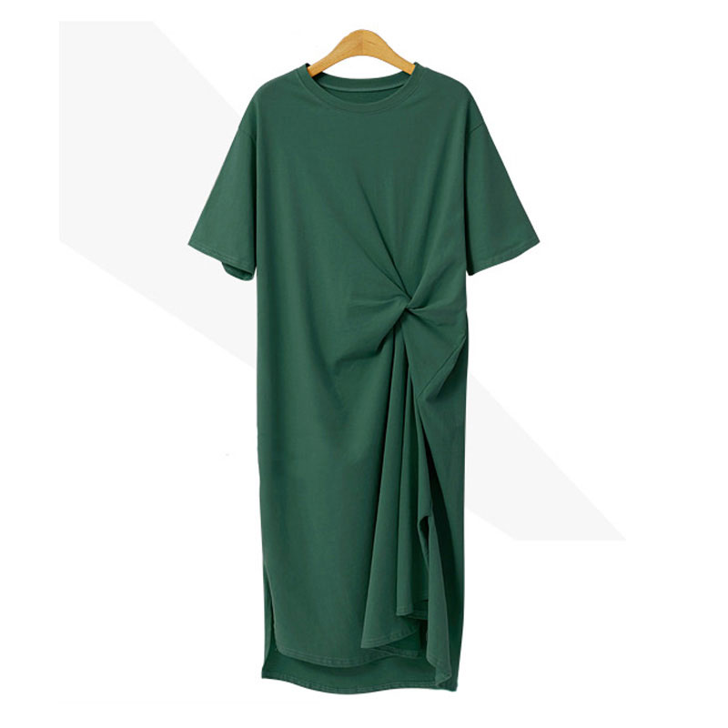 M 4XL New Women 39 s Dress Summer 2019 Fashion Casual Solid Color Short Sleeve O Neck Loose T Shirt Dress in Dresses from Women 39 s Clothing