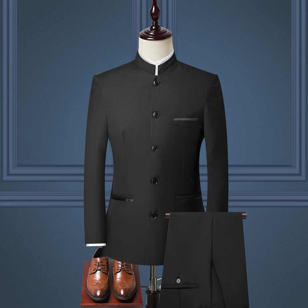 3 ピース男性スーツ中国風のスタンドカラースーツ男性結婚式新郎スリムフィットプラスサイズ 4XL ブレザーセットタキシード (ジャケット + パンツ + ベスト)