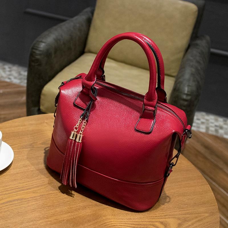 여자 2018 패션 정품 가죽 가방 럭셔리 브랜드 핸드백 여자 가방 디자이너 메신저 술 여성의 어깨 가방 X43